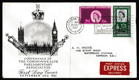 Great Britain First Day Cover, 'Seventh Commonwealth Parliamentary Conference', PTS/BPA, London SW1, 25-Sep-1961