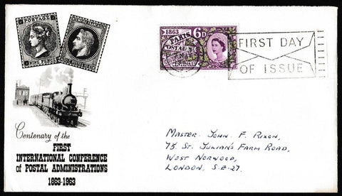 Great Britain First Day Cover, 'Paris Postal Conference Centenary', PTS/BPA, London, W.C., 07-May-1963