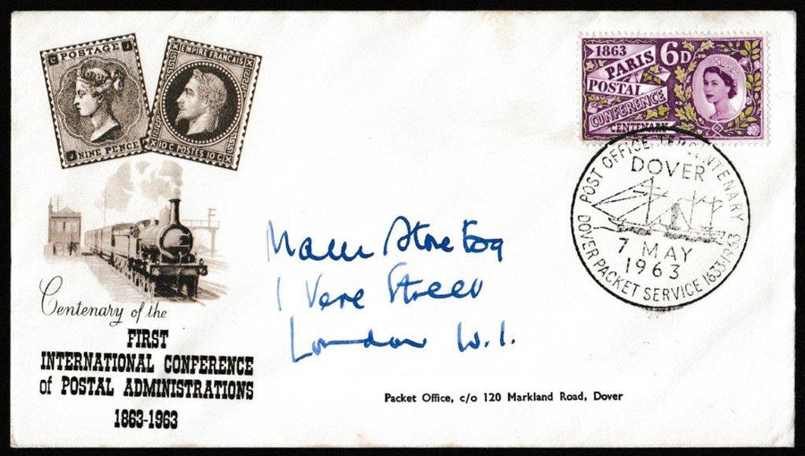 Great Britain First Day Cover, 'Paris Postal Conference Centenary', PTS/BPA, Dover Packet Service, Dover, 07-May-1963