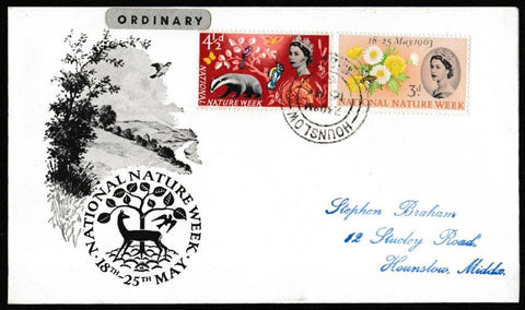 Great Britain First Day Cover, 'National Nature Week', PTS/BPA, Hounslow, Essex, 16-May-1963