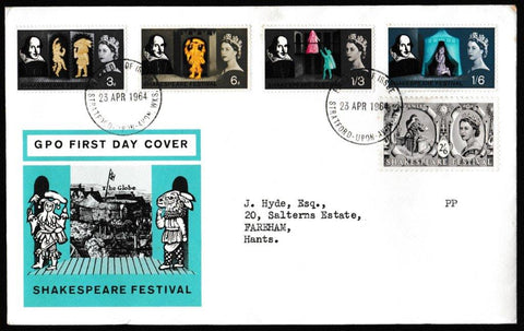 Great Britain First Day Cover, 'Shakespeare Festival', Royal Mail, Stratford-Upon-Avon, 23-Apr-1964
