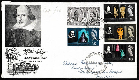 Great Britain First Day Cover, 'Shakespeare Festival', PTS/BPA, Stratford-Upon-Avon, 23-Apr-1964