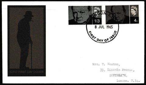 Great Britain First Day Cover, 'Sir Winston Churchill Commemoration', Royal Mail, London, EC, 08-Jul-1965