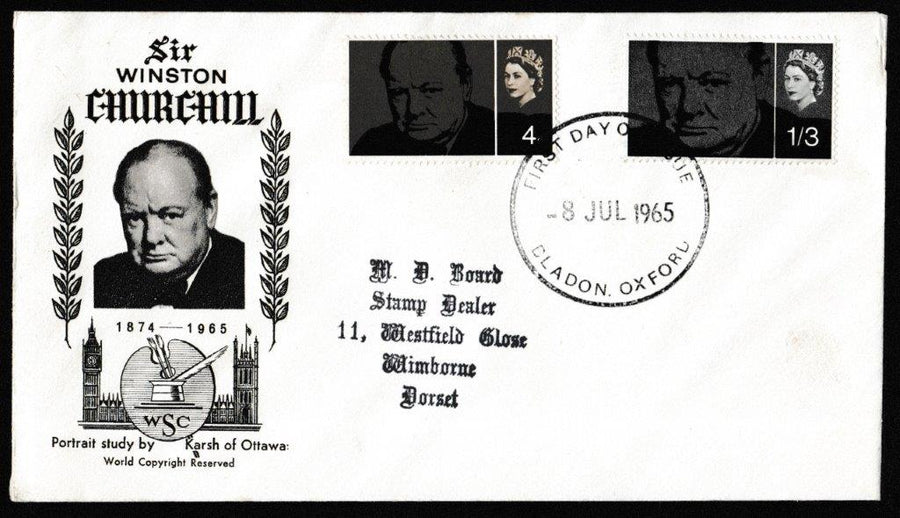 Great Britain First Day Cover, 'Sir Winston Churchill Commemoration', PTS/BPA, Bladon, Oxford, 08-Jul-1965