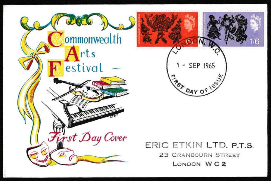 Great Britain First Day Cover, 'Commonwealth Arts Festival', Rembrandt, London, WC, 01-Sep-1965