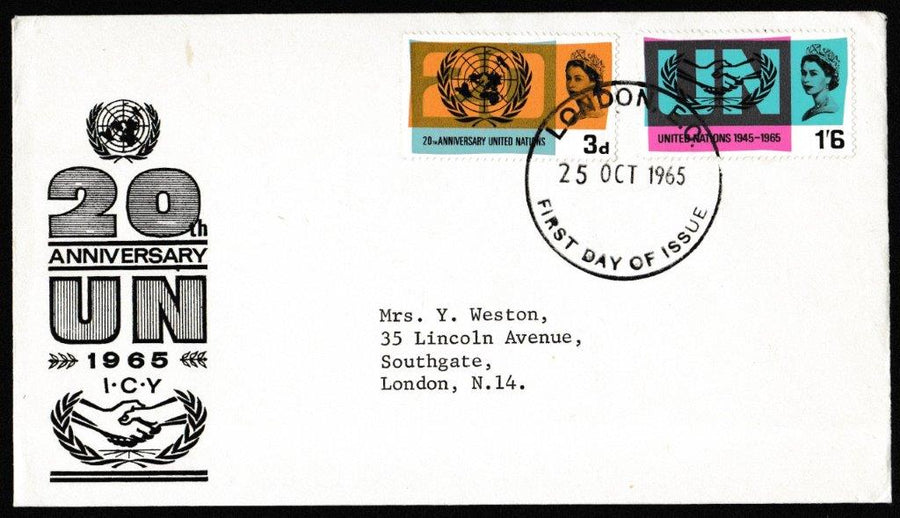 Great Britain First Day Cover, 'International Co-operation Year 1965', PTS/BPA, London, EC, 25-Oct-1965