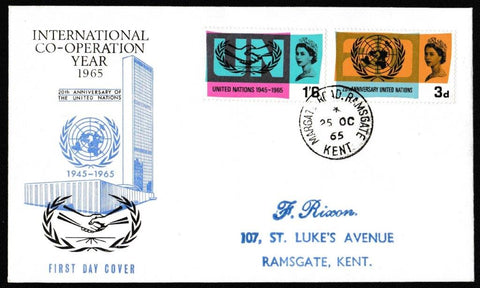 Great Britain First Day Cover, 'International Co-operation Year 1965', PTS/BPA, Margate Road, Ramsgate, 25-Oct-1965