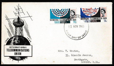 Great Britain First Day Cover, 'International Telecommunications Union Centenary', PTS/BPA, London, EC, 15-Nov-1965