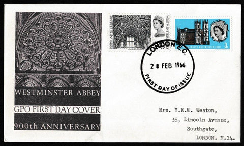 Great Britain First Day Cover, '900th Anniversary of Westminster Abbey', Royal Mail, London, EC, 28-Feb-1966
