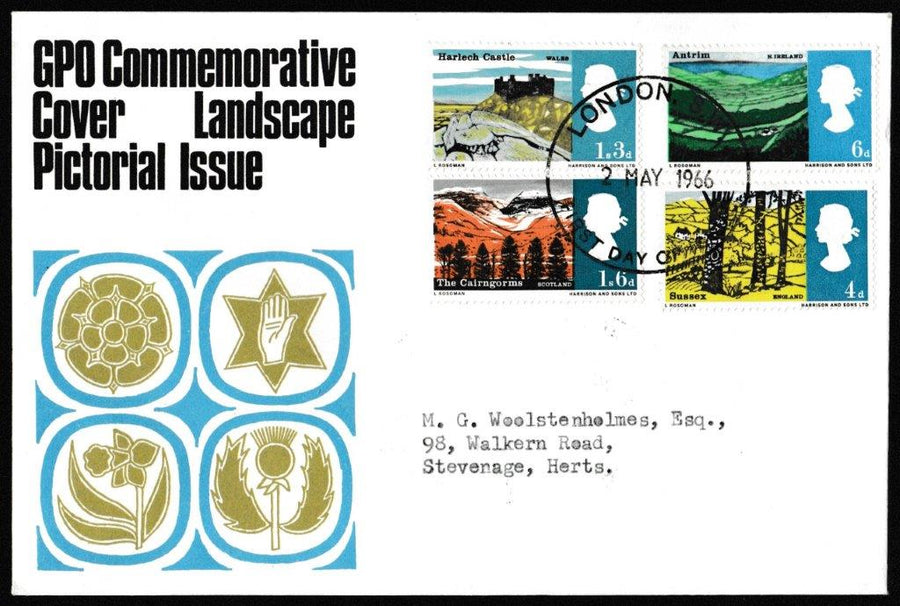 Great Britain First Day Cover, 'British Landscapes', Royal Mail, London, SW, 02-May-1966