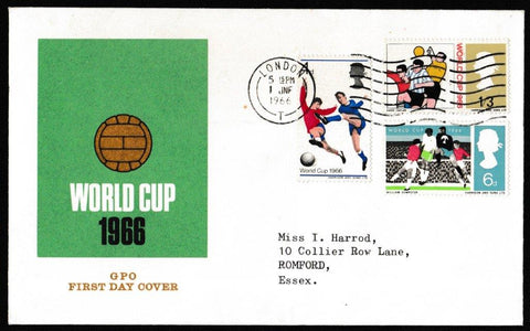 Great Britain First Day Cover, 'World Cup Football Competition', Royal Mail, London, 01-Jun-1966