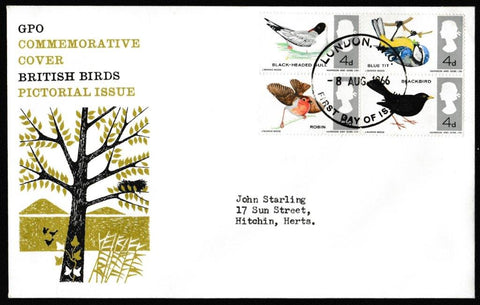 Great Britain First Day Cover, 'British Birds', Royal Mail, London, WC, 08-Aug-1966