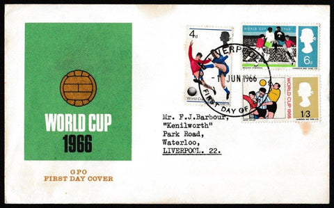 Great Britain First Day Cover, 'World Cup Football Competition', Royal Mail, Liverpool, 01-Jun-1966
