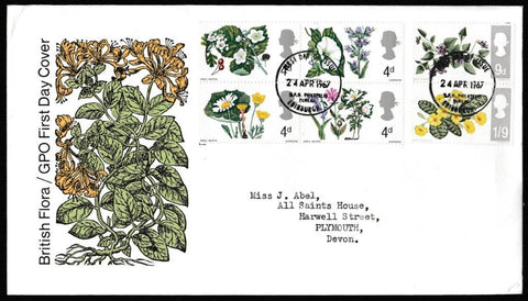 Great Britain First Day Cover, 'British Wild Flowers', Royal Mail, GPO Philatelic Bureau, Edinburgh, 24-Apr-1967