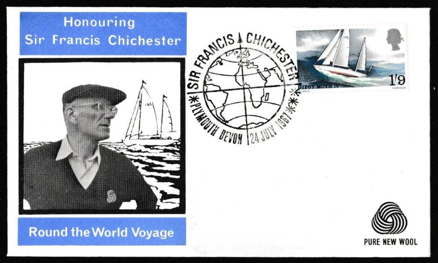 Great Britain First Day Cover, 'Sir Francis Chichester's World Voyage', Wessex, Plymouth, 24-Jul-1967