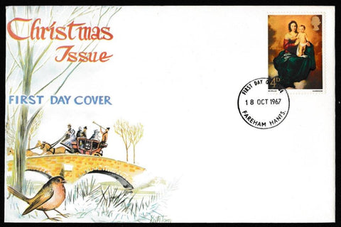 Great Britain First Day Cover, 'Christmas 1967', Connoiseur, Fareham, Hants, 18-Oct-1967