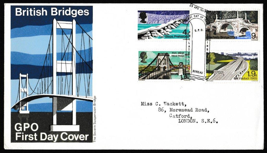 Great Britain First Day Cover, 'British Bridges', Royal Mail, GPO Philatelic Bureau, Edinburgh, 29-Apr-1968