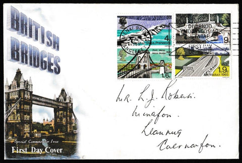 Great Britain First Day Cover, 'British Bridges', Connoiseur, Menai Bridge, Anglesey, 29-Apr-1968