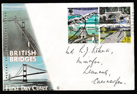 Great Britain First Day Cover, 'British Bridges', Royal Mail, Menai Bridge, Anglesey, 29-Apr-1968