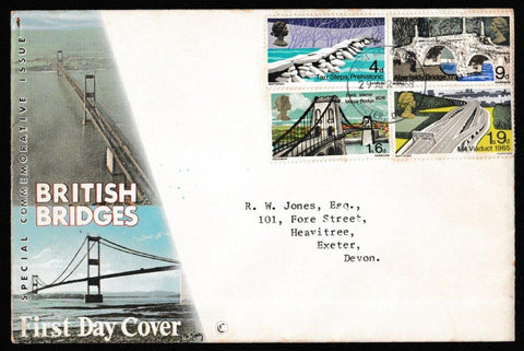 Great Britain First Day Cover, 'British Bridges', Royal Mail, Exeter, Devon, 29-Apr-1968