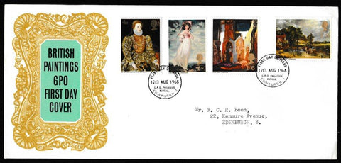 Great Britain First Day Cover, 'British Paintings', Royal Mail, GPO Philatelic Bureau, Edinburgh, 12-Aug-1968