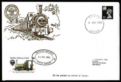 Great Britain Commemorative Cover, '1990 New Year Commemorative (Tywyn Pendre)', Tallyllyn Railway, Tywyn, Gwynedd, 02-Jan-1990