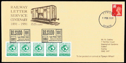 Great Britain Commemorative Cover, 'Railway Letter Service Centenary', Tallyllyn Railway, Tywyn, Gwynedd, 01-Feb-1991