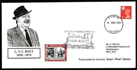 Great Britain Commemorative Cover, 'Loco No 7 Naming Ceremony - Tom Rolt', Tallyllyn Railway, Tywyn, Gwynedd, 06-May-1991