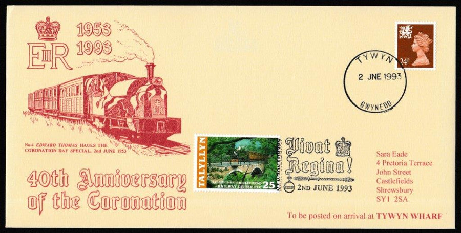 Great Britain Commemorative Cover, '40th Anniversary of the Coronation', Tallyllyn Railway, Tywyn, Gwynedd, 02-Jun-1993