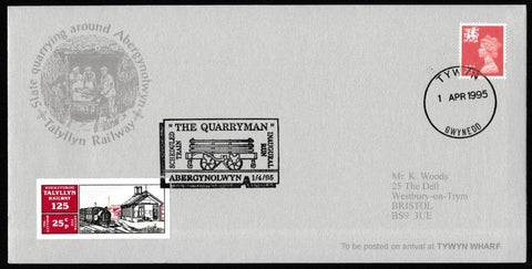 Great Britain Commemorative Cover, 'Slate Quarrying at Abergynolwyn', Tallyllyn Railway, Tywyn, Gwynedd, 01-Apr-1995