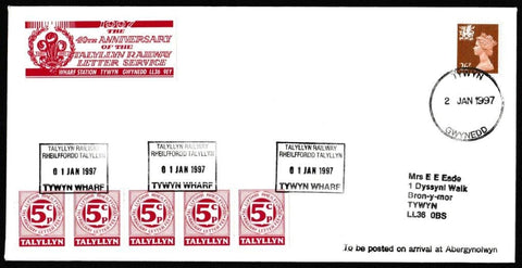 Great Britain Commemorative Cover, '40th Anniversary of the Talyllyn Railway Letter Service', Tallyllyn Railway, Tywyn, Gwynedd, 02-Jan-1997