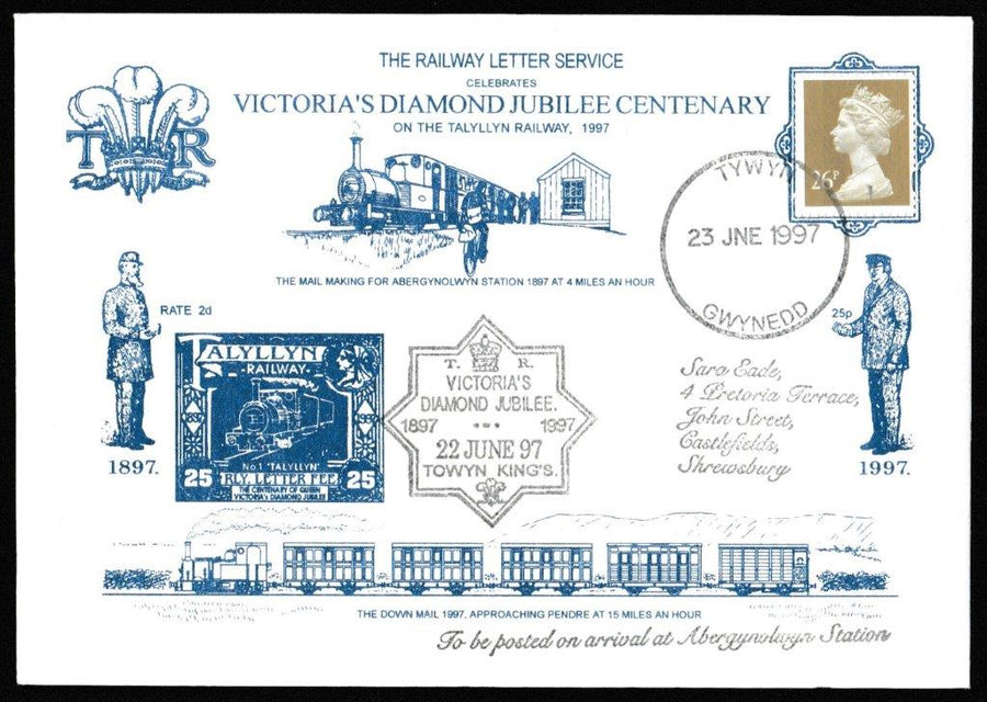 Great Britain Commemorative Cover, 'Victoria's Diamond Jubilee Centenary Talyllyn Railway', Tallyllyn Railway, Tywyn, Gwynedd, 23-Jun-1997