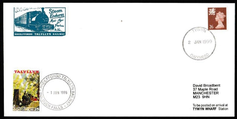 Great Britain Commemorative Cover, 'Steam Endures Talyllyn Railway', Tallyllyn Railway, Tywyn, Gwynedd, 02-Jan-1999