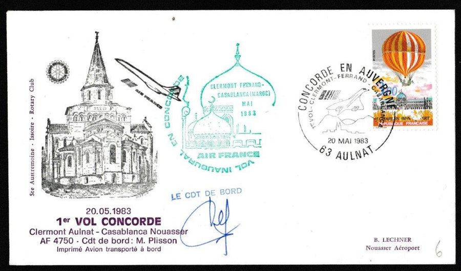 Great Britain Commemorative Cover, 'Concorde - First Flight Paris - Casablanca (SIGNED)', Air France, Clarmont, 20-May-1983
