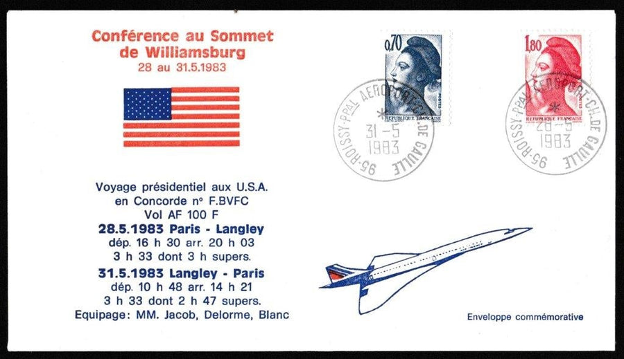 Great Britain Commemorative Cover, 'Concorde - Presidential Flight Paris - Langley USA', Air France, Aeroport Ch. De. Gaulle, Paris, 31-May-1983