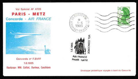 Great Britain Commemorative Cover, 'Concorde - Special Flight Paris - Metz', Air France, Aeroport Ch. De. Gaulle, Paris, 01-Jun-1985