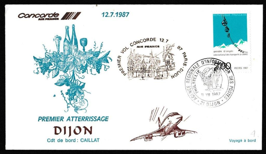 Great Britain Commemorative Cover, 'Concorde - Special Flight Paris - Dijon', Air France, Dijon, 12-Jul-1987