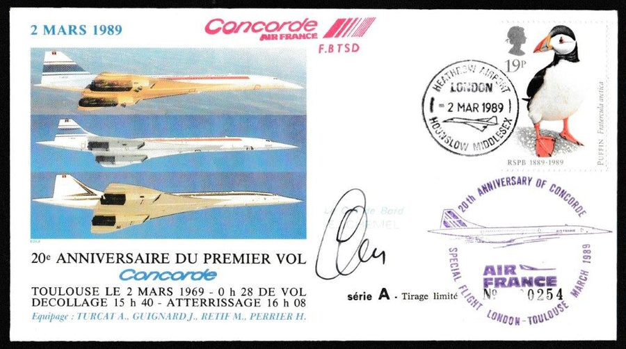 Great Britain Commemorative Cover, 'Concorde - 20th Anniversary of First Flight- London - Toulouse', Air France, Heathrow Airport, London , 02-Mar-1989