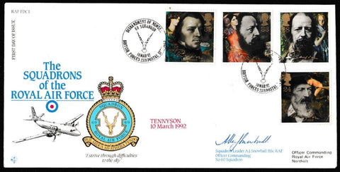 Great Britain First Day Cover, 'Centenary of Alfred Lord Tennyson (SIGNED)', RAF, BFPS 2318, 10-Mar-1992