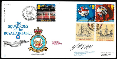 Great Britain First Day Cover, 'Europa Issue (SIGNED)', RAF, BFPS 2319, 07-Apr-1992