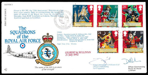Great Britain First Day Cover, '150th Anniversary Sir Arthur Sullivan (SIGNED)', RAF, BFPS 2321, 21-Jul-1992