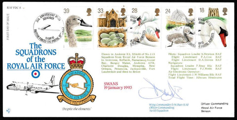 Great Britain First Day Cover, 'Swans (SIGNED)', RAF, BFPS 2347, 19-Jan-1993