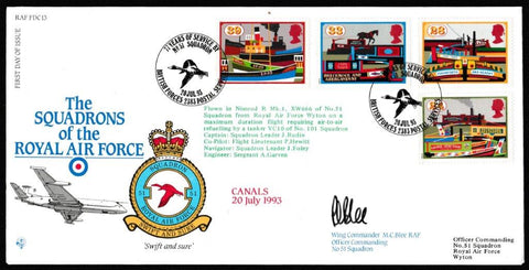 Great Britain First Day Cover, 'Inland Waterways Bicentenary (SIGNED)', RAF, BFPS 2383, 20-Jul-1993