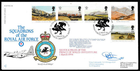 Great Britain First Day Cover, '25th Anniversary of the Investiture of the Prince of Wales (SIGNED)', RAF, BFPS 2409, 01-Mar-1994