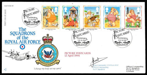 Great Britain First Day Cover, 'Pictorial Postcards 1894-1994 (SIGNED)', RAF, Picture Postcards, Brighton, 12-Apr-1994