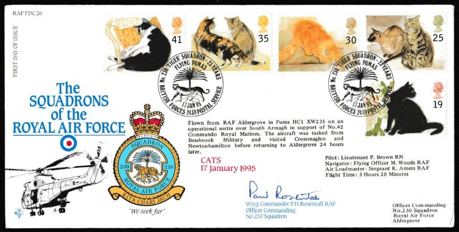 Great Britain First Day Cover, 'Cats (SIGNED)', RAF, BFPS 2439, 17-Jan-1995