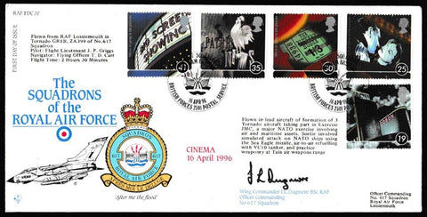 Great Britain First Day Cover, '100 Years of Cinema (SIGNED)', RAF, BFPS 2501, 16-Apr-1996