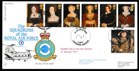 Great Britain First Day Cover, 'The Great Tudor (SIGNED)', RAF, No7 Squadron, Farnborough, Hampshire, 21-Jan-1997