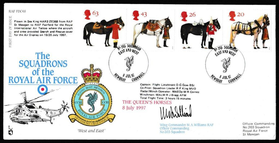 Great Britain First Day Cover, 'All the Queens Horses (SIGNED)', RAF, No 203 Squadron, Newquay, Cornwall, 08-Jul-1997