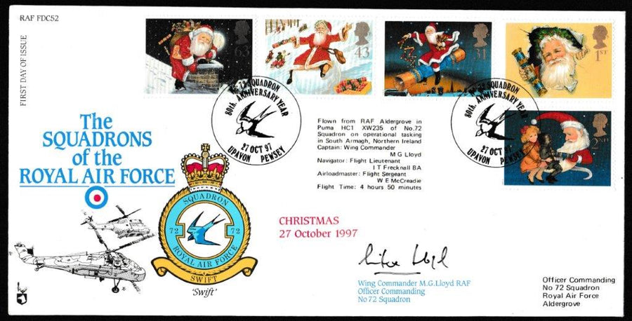 Great Britain First Day Cover, 'Christmas 1997 (SIGNED)', RAF, No 72 Squadron, Upavon, Pewsey, 27-Oct-1997